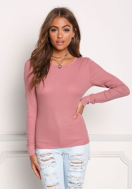 Dusty Pink Basic Thermal Pullover Top