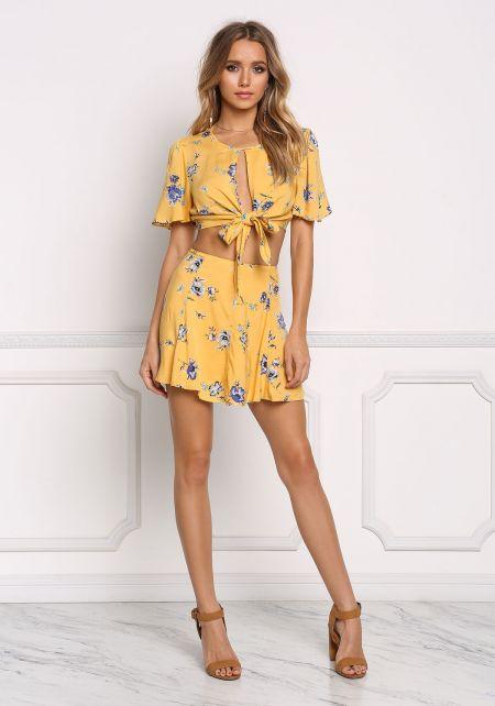 Mustard Floral Flared Skirt
