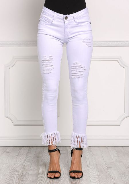 White Distressed & Frayed Jeans