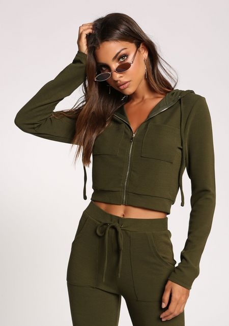 Olive Cropped Zipper Hooded Sweater