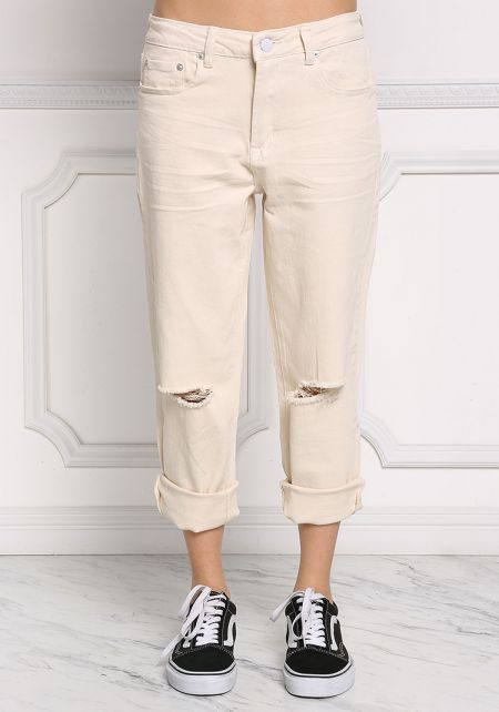 Cream Boxy Knee Slit Capri Jeans