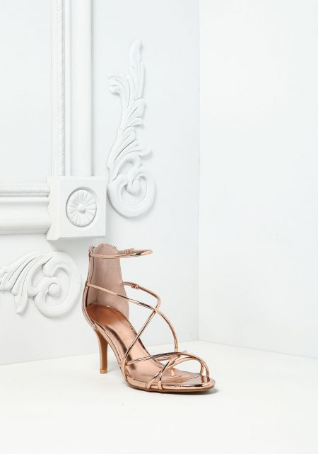 Rose Gold Cross Strap Chrome Heels