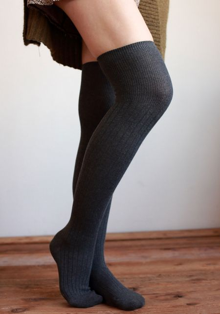 Charcoal Over The Knee Socks