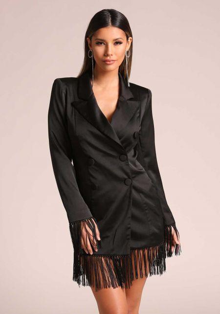 Black Fringe Double Breasted Tuxedo Dress