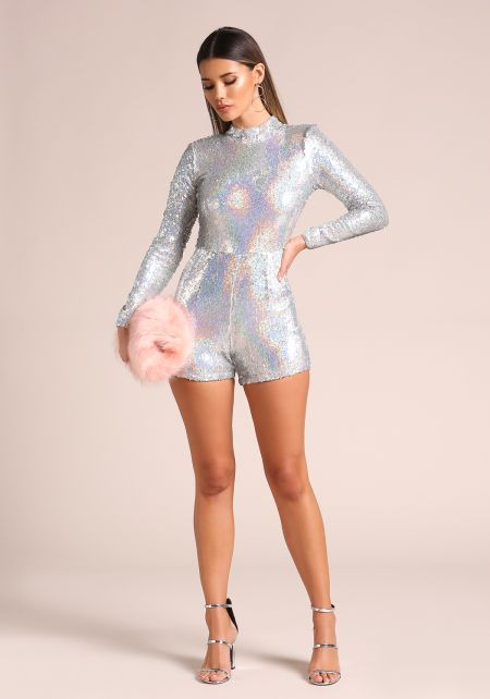 Silver Holographic Sequin Romper