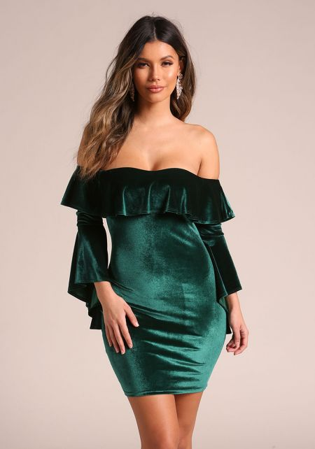 Hunter Green Velvet Off Shoulder Bell Sleeve Bodyc
