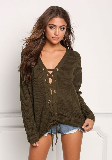 Olive Lace Up Thick Knit Sweater