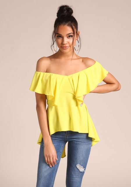 Yellow Layered Off Shoulder Peplum Blouse