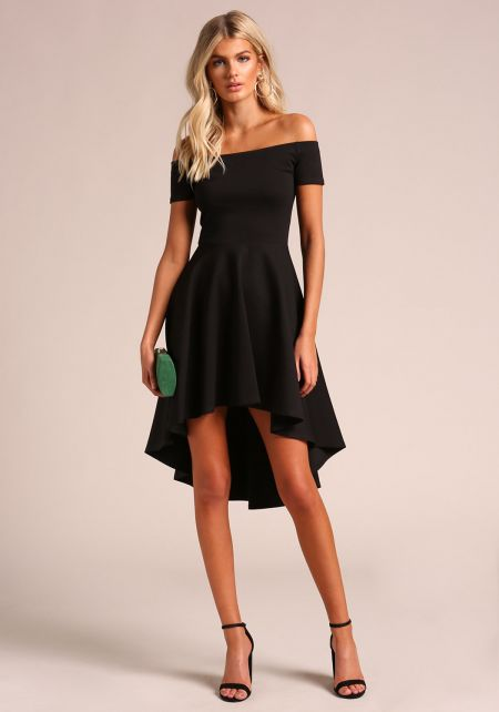 Black Off Shoulder Hi-Lo Flared Dress