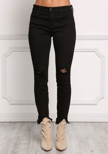 Black Cut Out Frayed Skinny Jeans