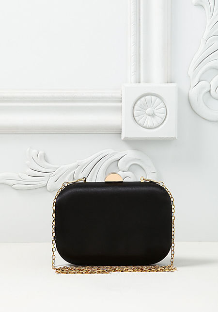 Black Satin Rounded Clutch