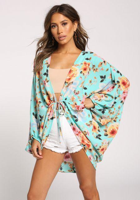Aqua Rose Tie Front Dolman Kimono