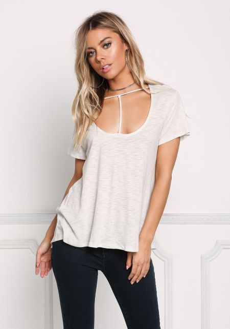 Oatmeal T-Strap Marled Knit Top