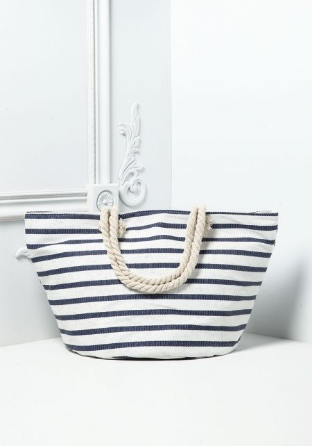 White and Navy Striped Canvas Tote Bag