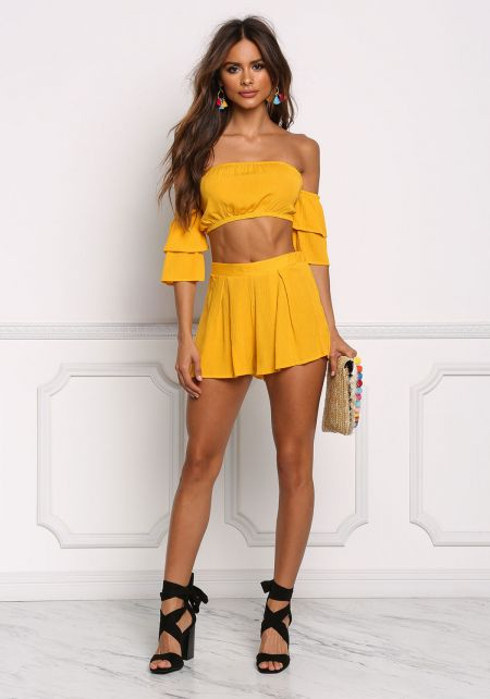 Mustard Crepe Pleated Flared Shorts