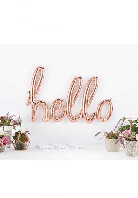 Rose Gold Hello Balloon Banner