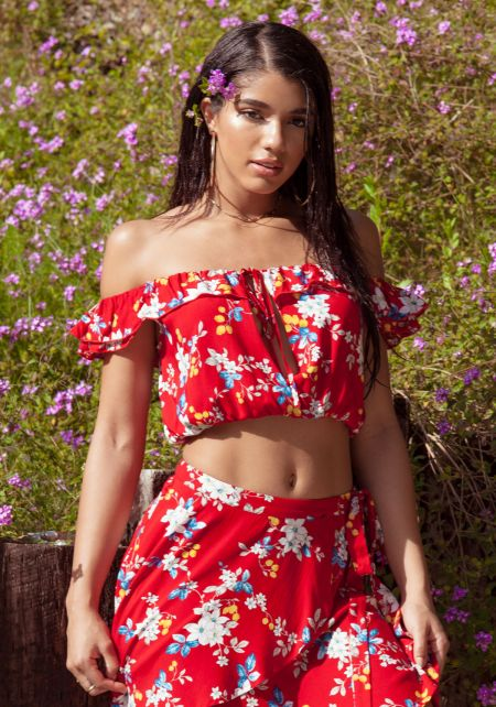 Red Floral Off Shoulder Crop Top