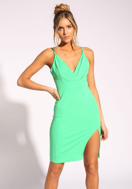 Green Pleated Slit Bodycon Dress