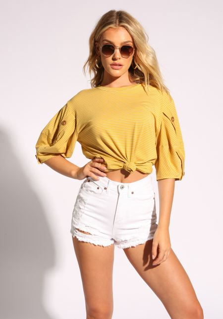 Mustard Button Puff Sleeve Stripe Tee