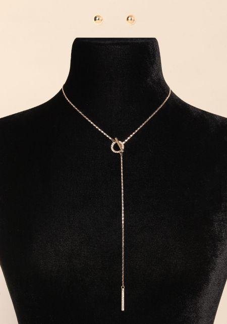 Gold Rhinestone Chain Hoop Lock Necklace