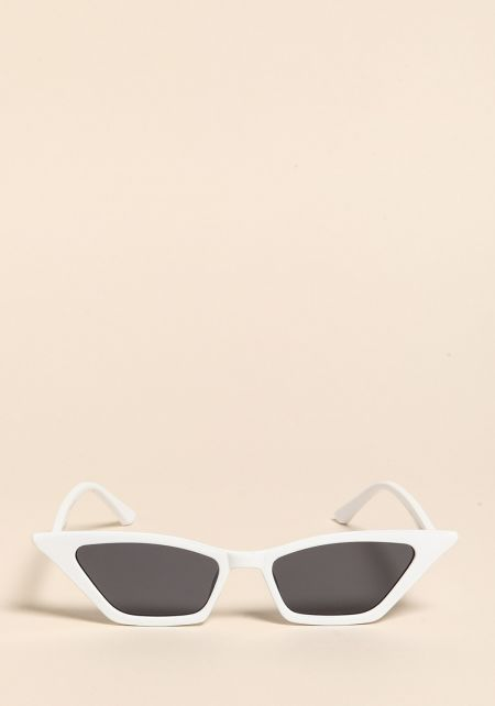 White Sharp Cat Eye Sunglasses