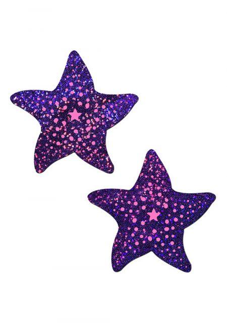 Purple Glitter Starfish Nipple Covers