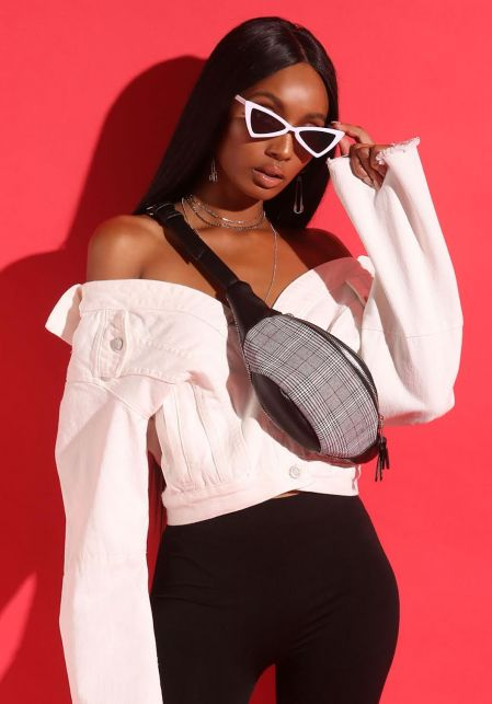 White Geometric Cat Eye Sunglasses