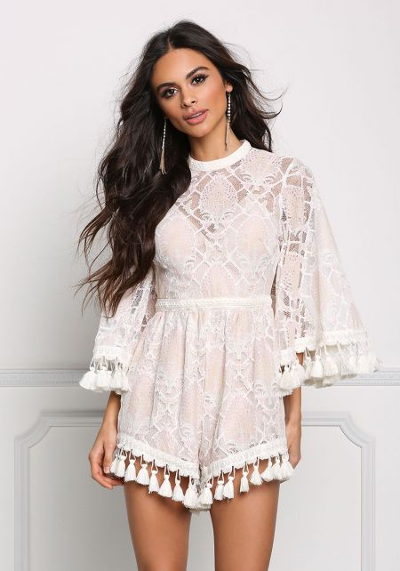 Blush Patterned Lace Tassel Cut Out Romper