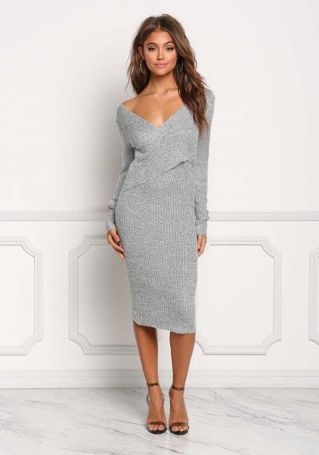 Heather Grey Cross Over Ribbed Knit Bodycon Dress