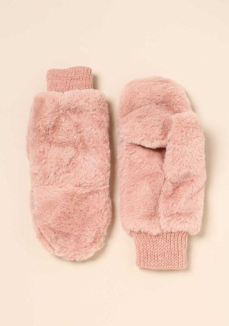 Dusty Pink Faux Fur Slit Mittens