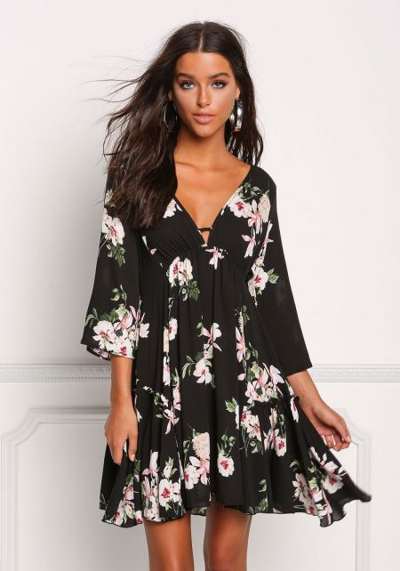 Black Floral Crepe Deep V Shift Dress