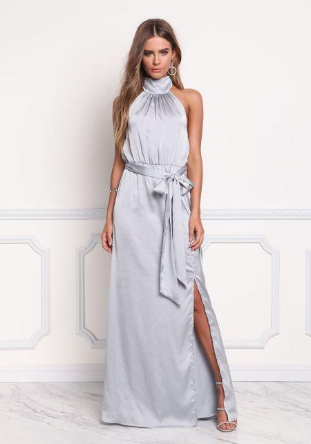 Silver Satin Halter Maxi Gown