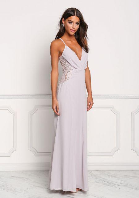 Light Grey Chiffon Lace Trim Maxi Gown