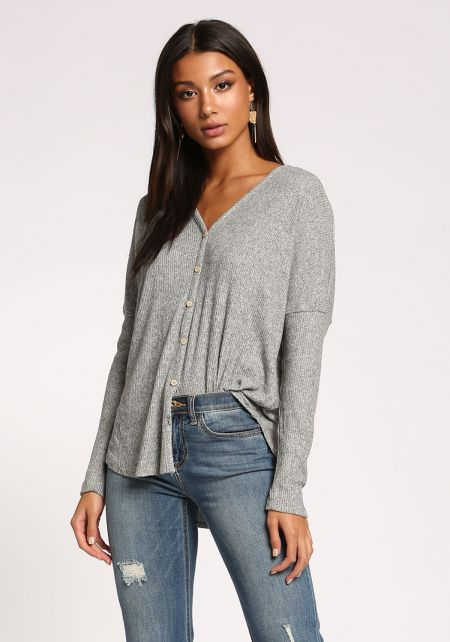 Heather Grey Button Down Ribbed Knit Top