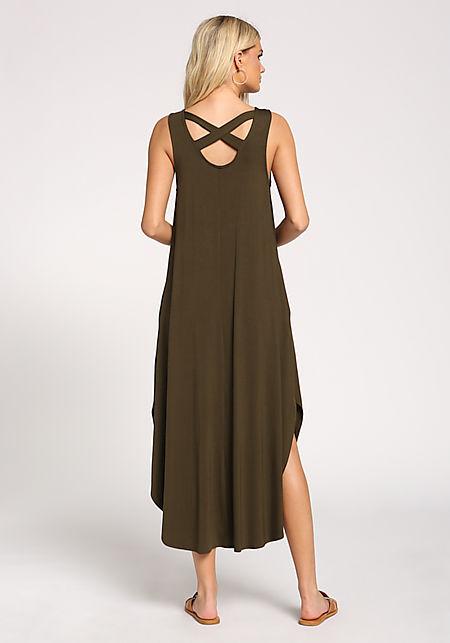Olive Back Cross Strap Slit Maxi Dress