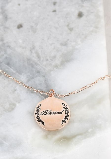 Rose Gold Blessed Thin Chain Delicate Necklace