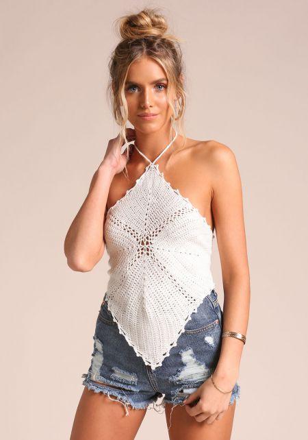 Ivory Crochet Halter Tank Top