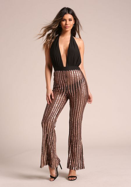 Rose Gold Mesh Sequin Plunge Halter Jumpsuit