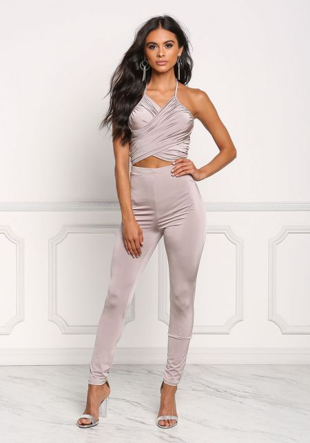 Taupe High Rise Solid Leggings