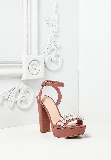 Mauve Suedette Pearl Ankle Strap Heels