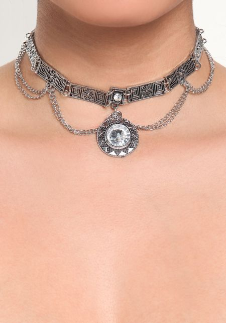 Silver Engraved Pendant Rhinestone Chain Choker