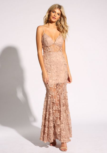 Champagne Floral Applique Sequin Mermaid Maxi Gown