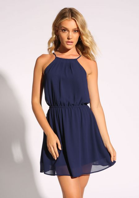 Navy Cross Strap Flared Dress