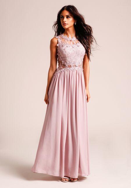 Mauve Tulle Floral Applique Maxi Gown