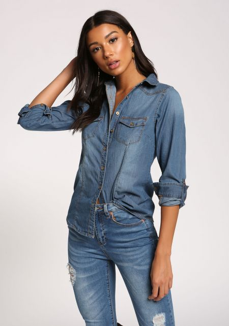 Denim Collared Button Down Blouse