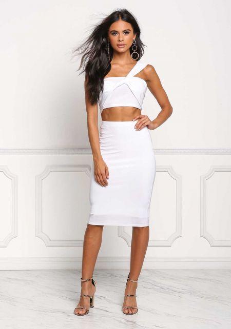 White High Rise Knit Skirt