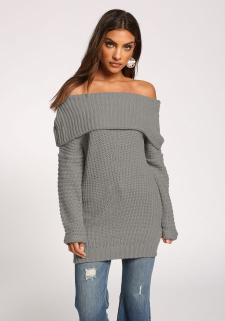 Heather Grey Fold Over Off Shoulder Sweater Top