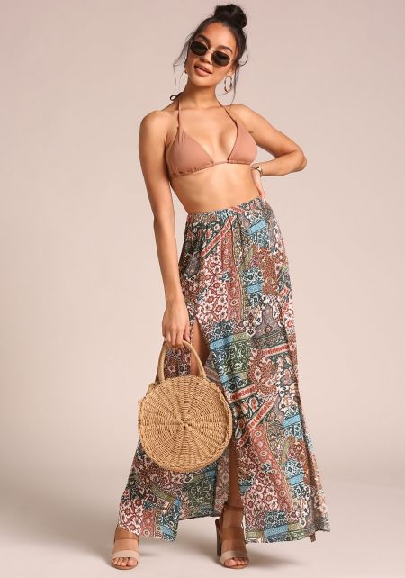 Olive High Slit Multi Print Maxi Skirt