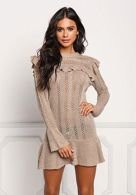 Mocha Ruffle Knit Mini Dress