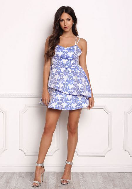 Blue Rose Embossed Layered Peplum Dress